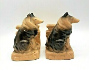 Vintage Chalkware Collie Dog Bookends AS IS