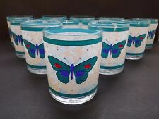 12pc Set Vintage Stotter USA Turquoise Butterfly  Low Tumblers