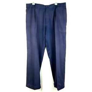 NIKE Dri Fit Golf Pants Navy Pleated Front Cuffed Leg Trousers Men's size 42x30