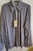 NEW Men's Creme de Silk 100% Silk Soft Shirt (GREY)