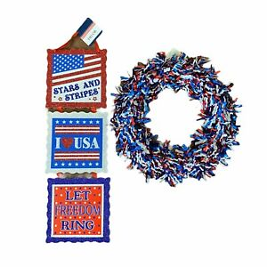 July 4 Decorations Red White Blue Tinsel Hanging Wreath Patriotic Sign USA