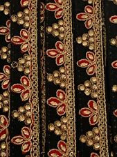 ATTRACTIVE INDIAN TURQUOISE  RAW SILK ANTIQUE GOLD EMBROIDERY TRIM//LACE-One MTR