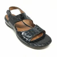Women's Clarks Sarasota Strappy Sandals Shoes Size 7.5W Black Croc Wedge AB14