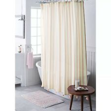 """Threshold Fabric Shower Curtain Coral Stripe with Tassels 72""""x72"""" NEW"""