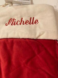 Pottery Barn Red Velvet Ivory Cuff Medium Christmas Stocking Michelle Monogram
