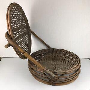 Vintage Wicker Bamboo Round Folding Chair Canoe Picnic Beach