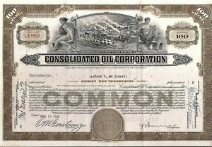 Stock certificate Consolidated Oil 1930s-1940s Sinclair Oil Corp. 100 shares