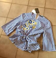 Zara Blue White Embroidered Gingham  Top Size XL UK 14 BNWT