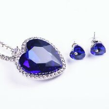 Large Crystal Heart of the Ocean Titanic Necklace & Earrings SET Sapphire Blue