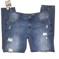New American Blue Women's Size 15 Blue Medium Wash Distressed Faded Denim Jeans