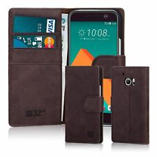 32nd Premium Genuine Leather Wallet Book Case Cover for HTC PHONES Dark Brown HTC 10