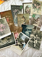 Lot 12 Vtg French France Postcard RPPC Hand Colored Edwardian Gorgeous Girl 006