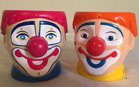 Pair of Ringling Bros and Barnum & Bailey Circus Clown Plastic Coffee Mug Cup