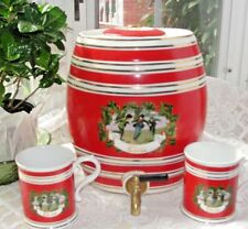 Two's Company Ceramic & Brass Red CIDER Dispenser 2 Mugs Vintage Country Store