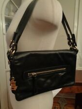 LAUREN Ralph Lauren 100% genuine leather black shoulder bag double strap RL