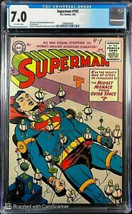 Superman # 102 CGC 7.0 F/VF ONLY 9 BOOKS BETTER ! Seldom Seen/Sold this Nice !