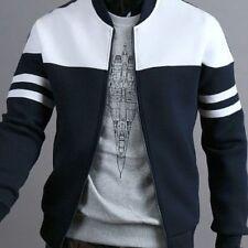 Men's Jacket Casual Zipper Sportswear Patchwork Long Sleeve Coat Slim Bomber New