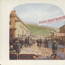 DAWSON CITY, AK--MAIN STREET W/ MANY PEOPLE - STEREOVIEW LITHOGRAPH