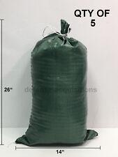 SET OF 5 Sandbags - Empty - 14x26 - Poly Sandbag Sand Bags Bag NEW