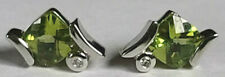 Unique 10k White Gold Checker Cushion Cut Peridot 5mm Diamond Stud Earrings 1.5g