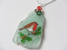 "Christmas robin holly necklace, hand painted to order - 18"" silver plated chain"