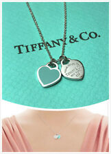 "Return to Tiffany Blue Enamel Mini Double Heart Tag 18"" Silver Necklace"