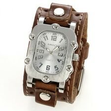 Nemesis Rugged Watch with Brown Single Stitched Leather Cuff Band Vintage