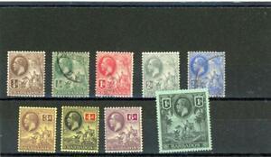 Barbados 1912 Scott# 116-124 Mint og Hinged/Canceled