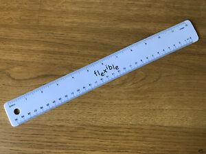 FLEXI WHITE RULER 30cm 12 Inch Long Ruler (Bendy, Flexible, Shatterproof)