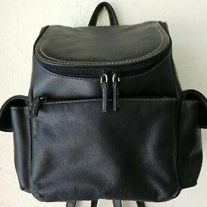 Black Leather Backpack Multi pocket  Adjustable Straps