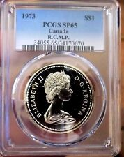 Canada Dollar 1973 Proof PCGS SP 65 Rainbow Hue Mirrors Glassy Cam+ Rare RCMP