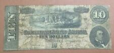 1864 $10 Us Confederate States of America! Old Us Currency! Rough!