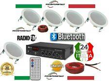 KIT AUDIO 1 FILODIFFUSIONE BLUETOOTH+USB+RADIO FM+TELECOMANDO+5 CASSE DA INCASSO