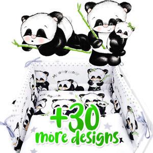 Panda BABY BEDDING SET COT OR COT BED inc BUMPER+COVERS+DUVET+ FLAT PILLOW