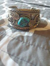 Silver Turquoise Cuff Bracelet Vintage Native Navajo Sterling