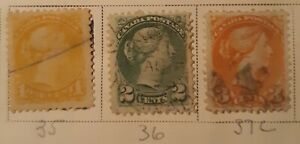 Canada Postage stamps Scott# 35,36,37c,plus 41 Used Super great Condition...