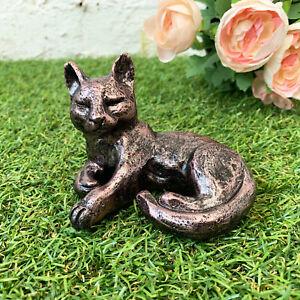 Miniature Bronze Effect Resin Laying Cat Garden Lawn Statue Sculpture Ornament