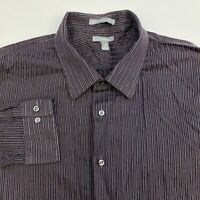 Apt. 9 Button Up Shirt Men's Size 2XL XXL Long Sleeve Maroon Gray Black Striped