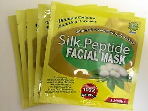 MyM Peptide Silk Facial Mask, Unisex, Anti Wrinkles Anti-Aging x5 packs