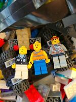 Bulk LEGO LOT 6 pound of Bricks, parts, Pieces Tires accessories +3 minifigures