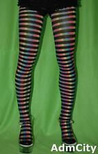 Spandex Pantyhose Tights Rainbow Print Be the Most Shinning Star Black/Rainbow