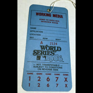 Orig Press Pass Ticket 1986 World Series NY Mets Boston Red Sox UNUSED Shea Stad