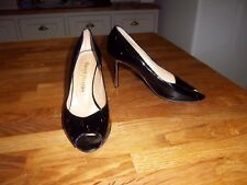 Russell & Bromley black patent leather peep toe, silver heel court shoes, 38  5