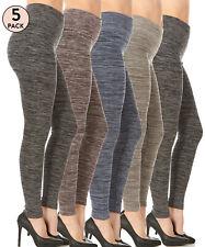 Ladies 5 Pack High Waist Leggings Fleece Lined-Seamless,Elastic,Ankle Length
