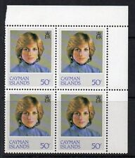 CAYMAN ISLANDS SG552w 1982 PRINCESS DIANA 50c WMK INVERTED BLOCK OF 4 MNH