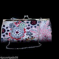 Classy Retro Floral Print CLUTCH PURSE Evening Bag w Removable Chain Strap