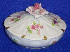 Covered Salt Cellar w/Pink Rose Lid-SHIPPING INCLUDED