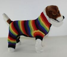 PRINTED KNITTING INSTRUCTIONS -  DOG RAINBOW STRIPE ROMPER COAT KNITTING PATTERN
