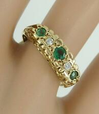 Super Victorian Edwardian Design 9ct Gold Emerald & Diamond Ring. Size L.  NICE1