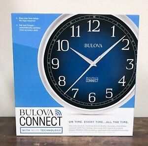 "Bulova Accurate Time Anywhere 12 ½"" Wall Clock Gradient Blue Dial WIFI Clock NIB"